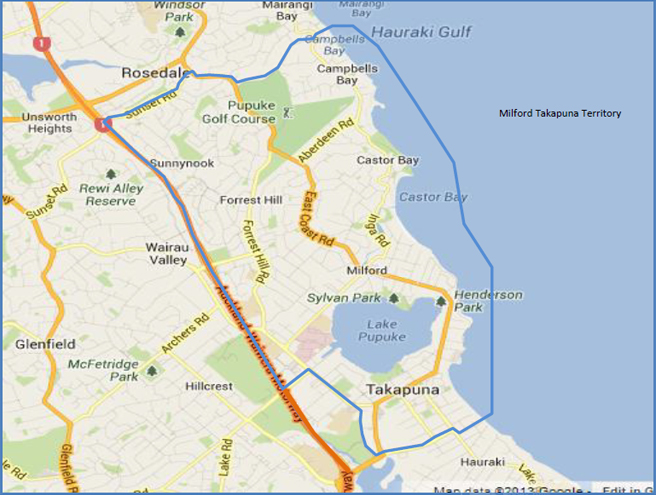 Milford Takapuna Map- Freedom Drivers